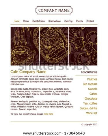 Cafe, bistro, restaurant, Sweet Shop and patisserie website design vector template  - stock vector