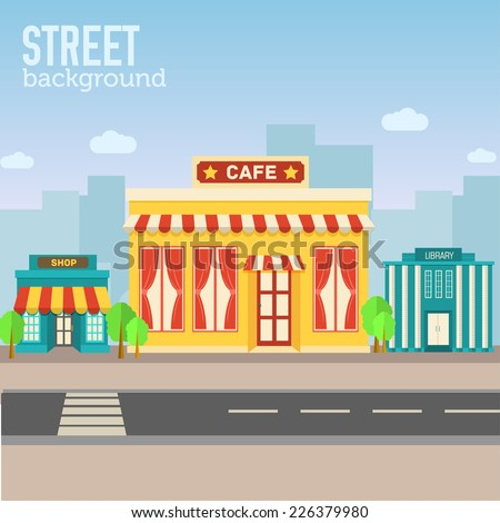 cafe building in city space with road on flat syle background concept. Vector illustration design - stock vector