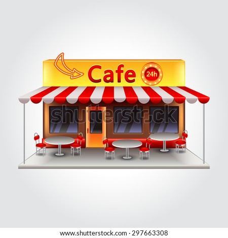 Cafe building isolated photo realistic vector illustration - stock vector