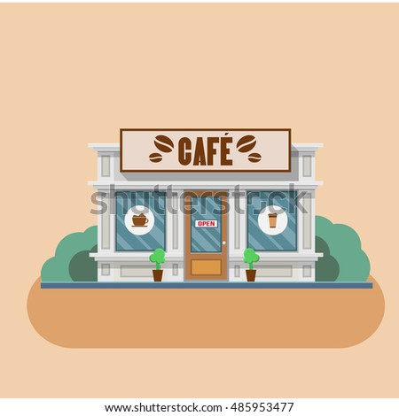 Cafe building shop facade. Vector flat illustration