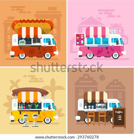 Cafe car on the street. Hotdog, bar, ice cream, coffee shop on wheels. Vector color flat illustrations - stock vector