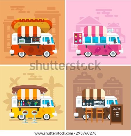 Cafe car on the street. Hotdog, bar, ice cream, coffee shop on wheels. Vector color flat illustrations - stock vector