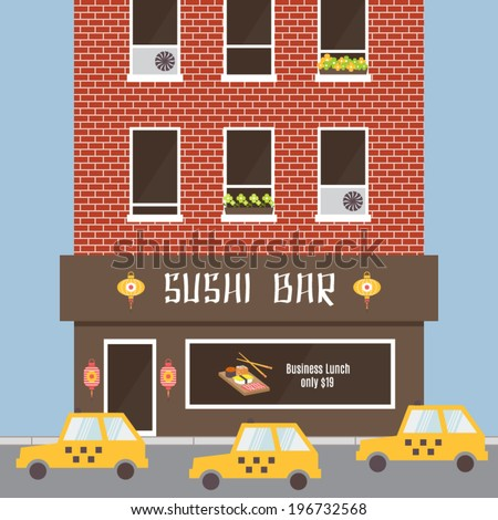 Cafe facade, building exterior. Sushi bar, restaurant in oriental style. Road and taxi. Flat design vector illustration. - stock vector