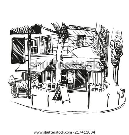 Cafe hand drawn, vector illustration