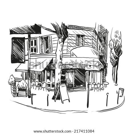 Cafe hand drawn, vector illustration - stock vector
