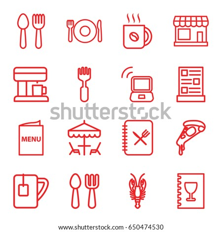 Cafe icons set. set of 16 cafe outline icons such as spoon and fork, plate fork and spoon, store, crab, coffee, pizza, tea cup, menu, coffee machine, table under umbrella