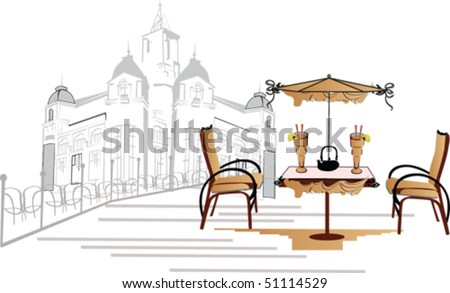 Cafe in the city - stock vector