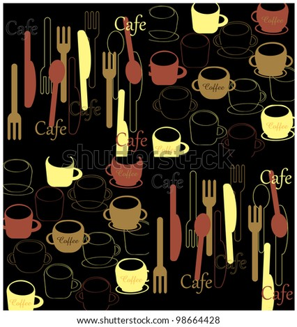 Cafe inspired utensils and cups - stock vector