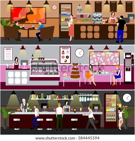Cafe interior vector illustration. Design of coffee shop, bakery, restaurant and bar. People in cafe cartoon in flat style. Horizontal banners. - stock vector