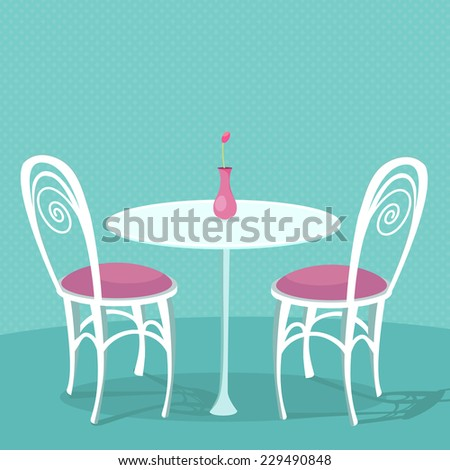 Cafe interior vector illustration: two white chairs with pink cushions and round table with vase.