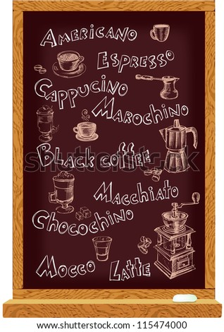 Cafe menu blackboard with hand drawn names and coffee elements - stock vector
