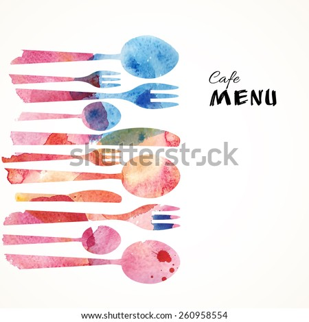 Cafe Menu Card Design template. Watercolor flatware background. Vector Illustration.  - stock vector