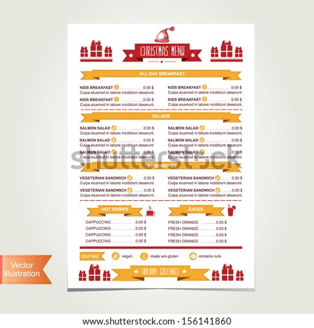 Cafe menu Christmas, template design.Vector illustration. - stock vector