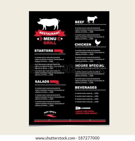 Cafe menu grill, template design.Vector illustration. - stock vector