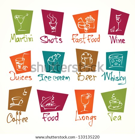cafe menu hand draw icons in color - stock vector