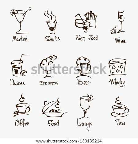 cafe menu hand draw icons on white - stock vector