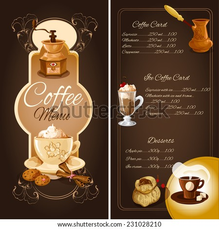 Cafe menu list template with hot ice coffee desserts elements and ornament vector illustration