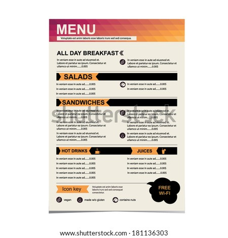 Cafe menu, restaurant template design.Vector illustration.