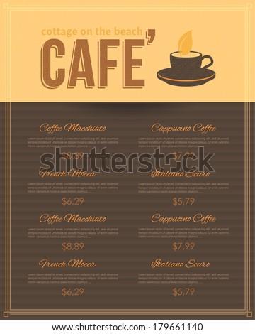Cafe Menu Restaurant Vector Design - stock vector