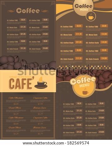 Cafe Menu Restaurant Vector Design Set - stock vector