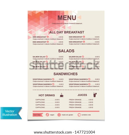 Cafe menu, template design.Vector illustration. - stock vector