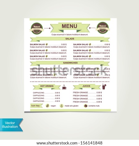 Cafe Menu Template Designvector Illustration Stock Vector