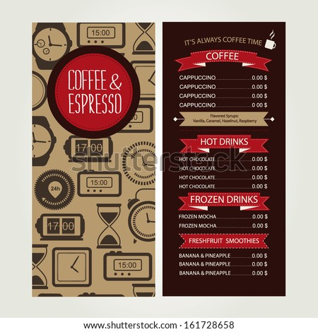 Cafe menu, template design. Vector illustration. - stock vector