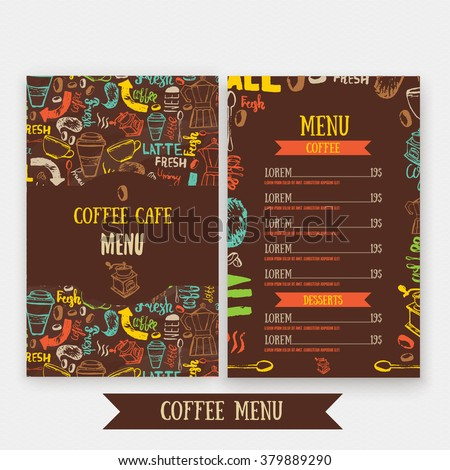 Cafe menu template design with lettering for coffee shop. Hand drawn cafe menu design. Modern hipster colorful cafe menu. Vector illustration of cafe menu - stock vector
