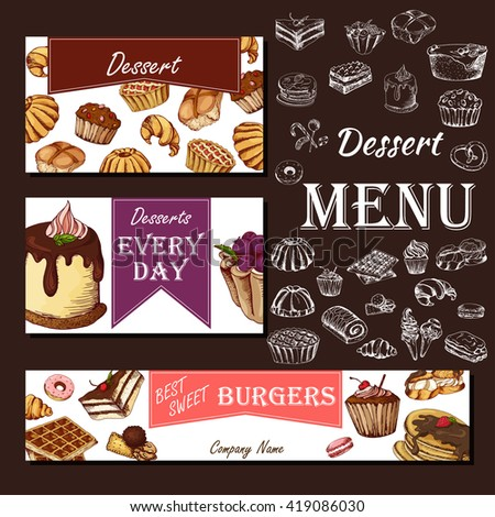 Cafe Menu With Hand Drawn Design. Dessert Restaurant Menu Template. Set Of  Cards For  Dessert Menu Template