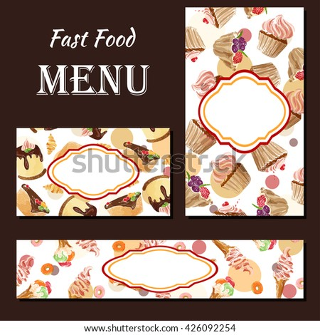 Cafe menu with hand drawn design. Dessert restaurant menu template. Set of cards for corporate identity. Vector illustration - stock vector