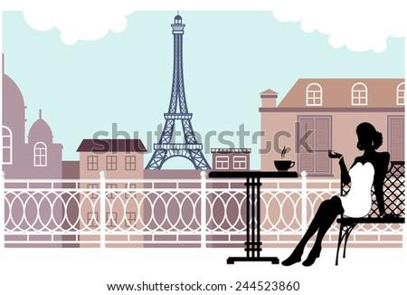 Cafe near the Eiffel Tower vector - stock vector