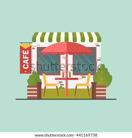 Cafe on street. Cartoon flat vector illustration. Objects isolated on a white background.