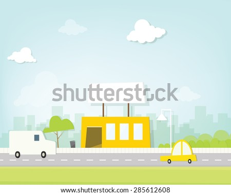 cafe on the road - stock vector