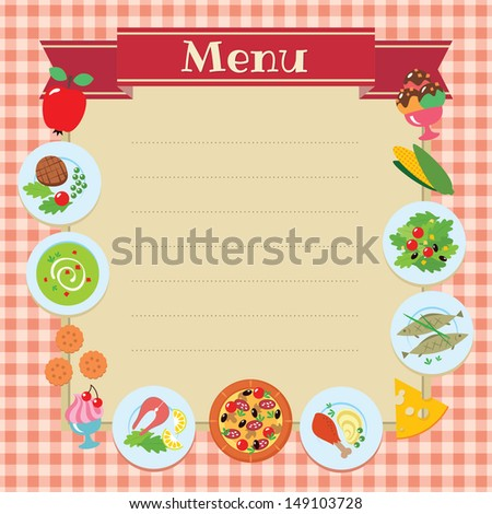 Cafe or restaurant menu vector design template. Some blank space for your text included. - stock vector