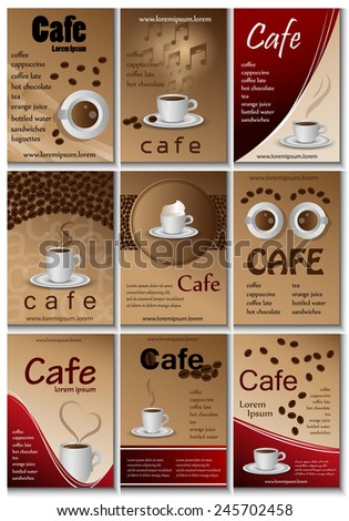 Cafe Placard Template Set - Vector Illustration, Graphic Design, Editable For Your Design      - stock vector
