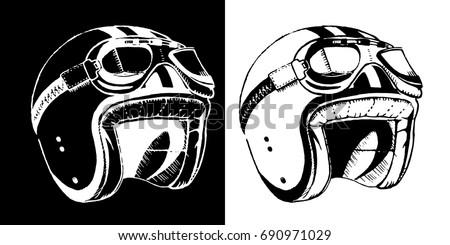 Cafe Racer Print T Shirt Emblem Motorcycle Helmet With Glasses Vintage Old School