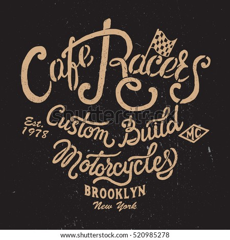 cafe racers hand drawing logo vintage stock vector 520985278