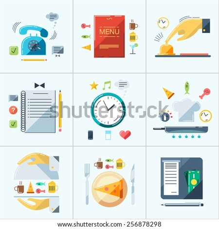 Cafe, restaurant, hotel service. Order food, cooking process, check payment. Flat color vector illustration. - stock vector