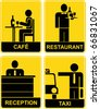 Cafe, Restaurant, Taxi, Reception - set of yellow and black vector signs. - stock vector