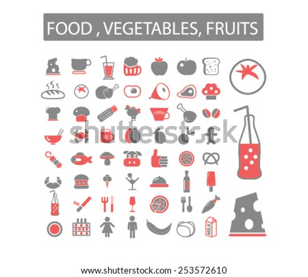 cafe, restaurants, grocery concept - flat isolated icons, signs, illustrations set, vector - stock vector