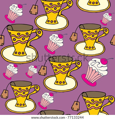 cafe seamless pattern - stock vector