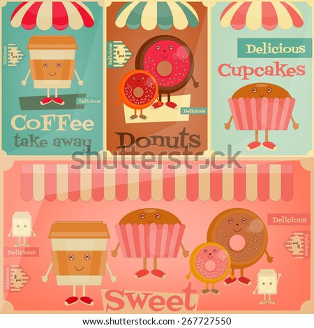 Cafe Sweet Shop. Cartoon Cover Menu Set - Funny Coffee, Donuts and Cake. Vector Illustration. - stock vector