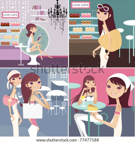 cafe tea break collections with lady - stock vector