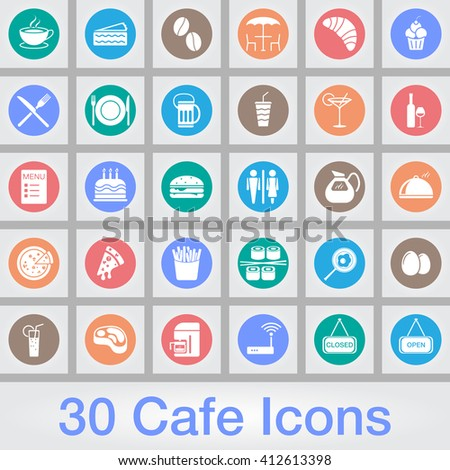Cafe vector icons set, food modern solid symbol collection, pictogram pack