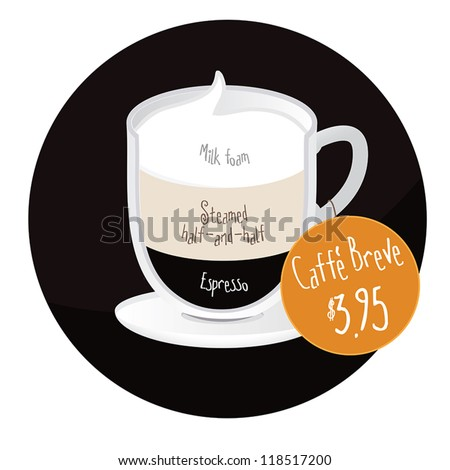 Caffe Breve coffee cup restaurant, cafe label/sticker with price tag - stock vector