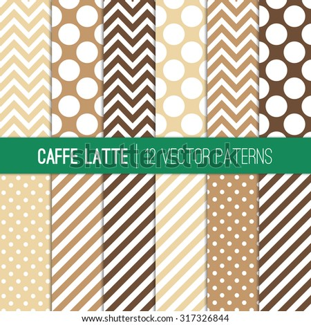 Caffe Latte Polka Dots, Chevron and Stripes Patterns in Coffee Brown, Moka Brown, Cream and White Colors. Modern Geometric Backgrounds. Vector EPS File Pattern Swatches made with Global Colors. - stock vector