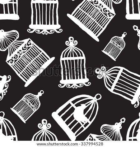 cage for bird monochrome pattern  - stock vector