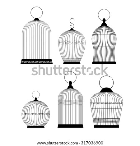 Open Birdcage Silhouette Vintage Bird Cages Orn...