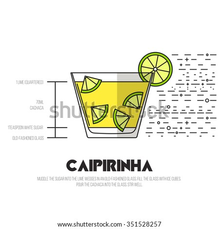 Caipirinha - Thin Flat Line Style Cocktail Recipe. Simple instructions on how to prepare the popular drink. Suitable for wall of your bar or on the web.