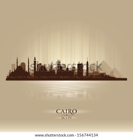 Cairo Egypt city skyline silhouette. Vector illustration - stock vector